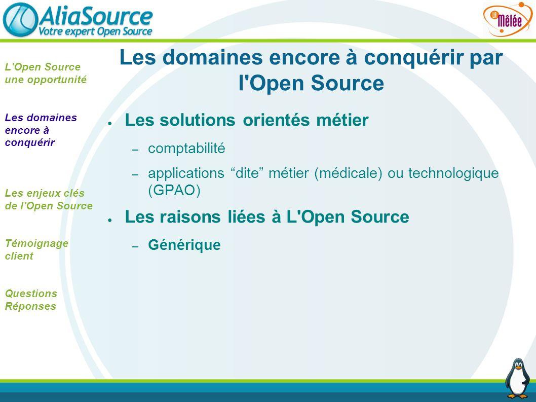 Les domaines encore à conquérir par l'Open Source Les solutions orientés métier – comptabilité – applications dite métier (médicale) ou technologique