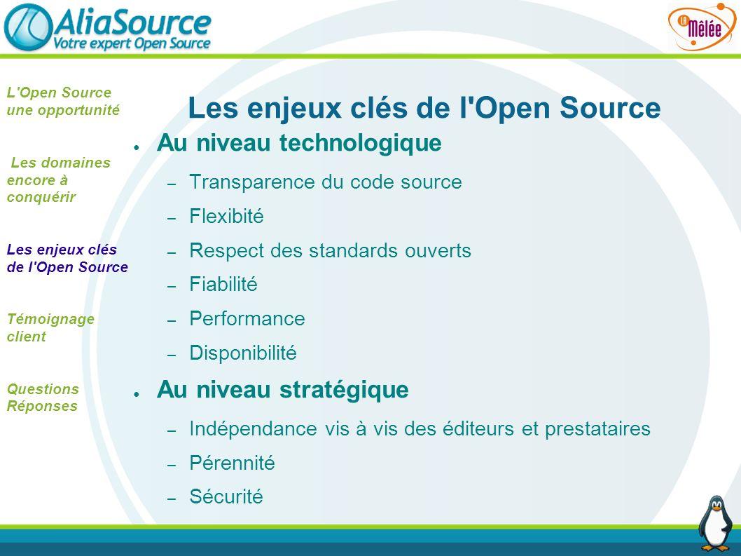 Les enjeux clés de l'Open Source Au niveau technologique – Transparence du code source – Flexibité – Respect des standards ouverts – Fiabilité – Perfo