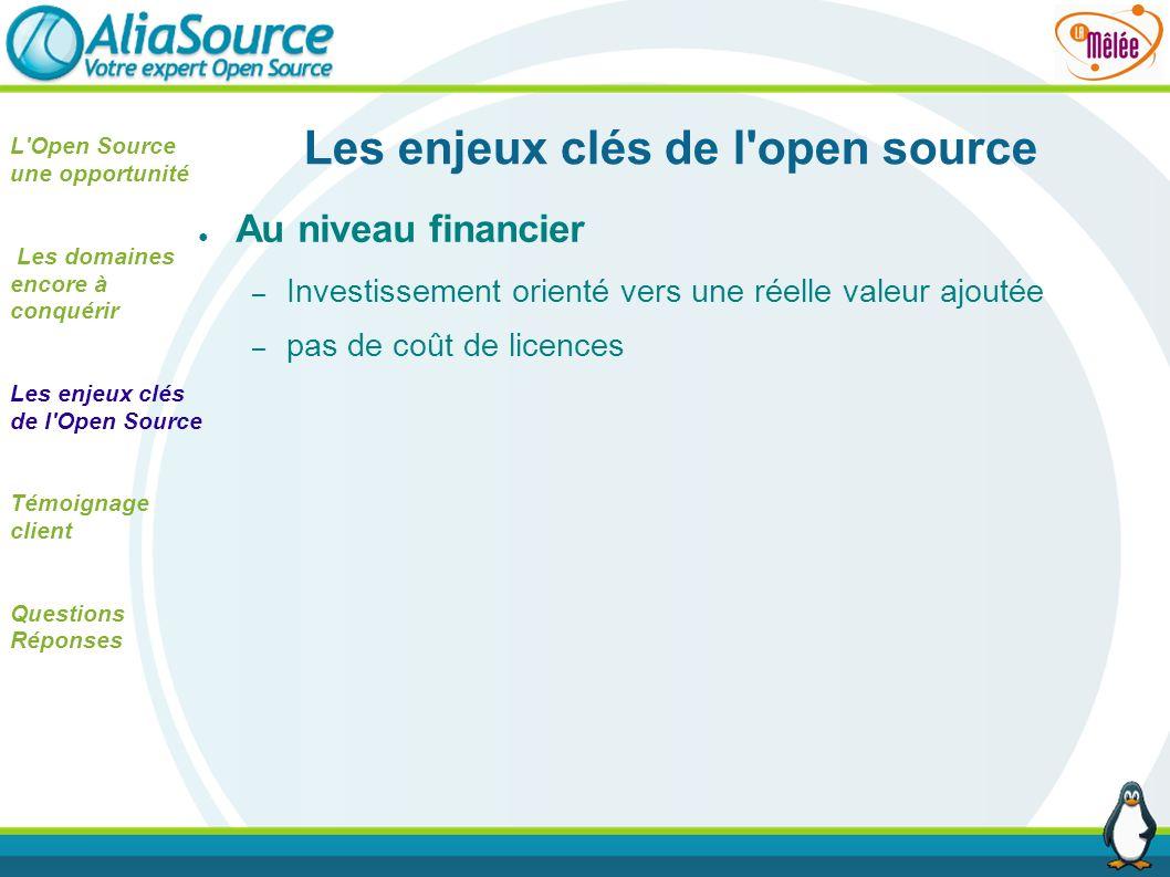 Les enjeux clés de l'open source Au niveau financier – Investissement orienté vers une réelle valeur ajoutée – pas de coût de licences L'Open Source u