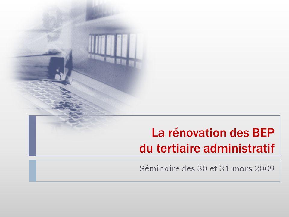 La rénovation des BEP du tertiaire administratif Séminaire des 30 et 31 mars 2009