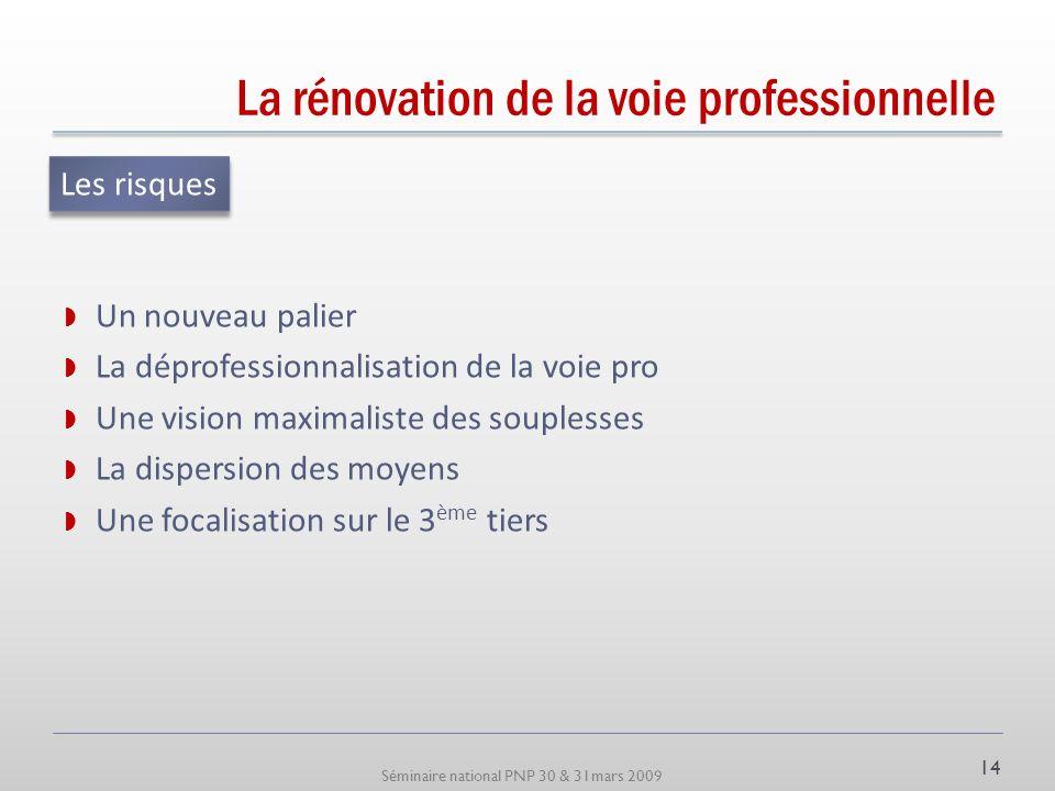 Séminaire national PNP 30 & 31mars 2009 La rénovation de la voie professionnelle Un nouveau palier La déprofessionnalisation de la voie pro Une vision