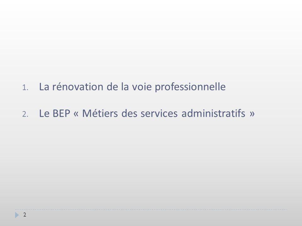 1. La rénovation de la voie professionnelle 2. Le BEP « Métiers des services administratifs » 2