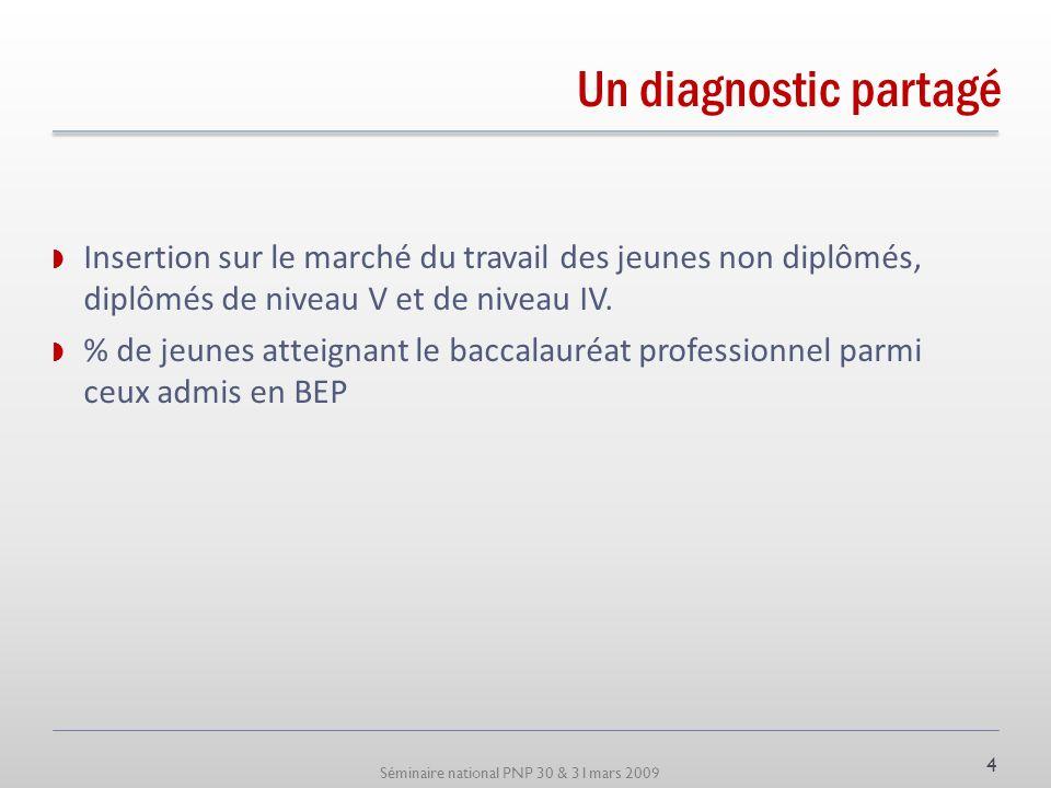 Séminaire national PNP 30 & 31mars 2009 Un diagnostic partagé Insertion sur le marché du travail des jeunes non diplômés, diplômés de niveau V et de n