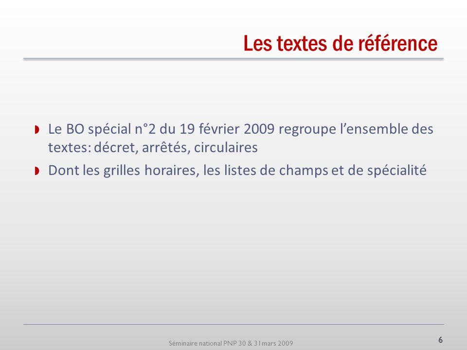 Séminaire national PNP 30 & 31mars 2009 Les textes de référence Le BO spécial n°2 du 19 février 2009 regroupe lensemble des textes: décret, arrêtés, c