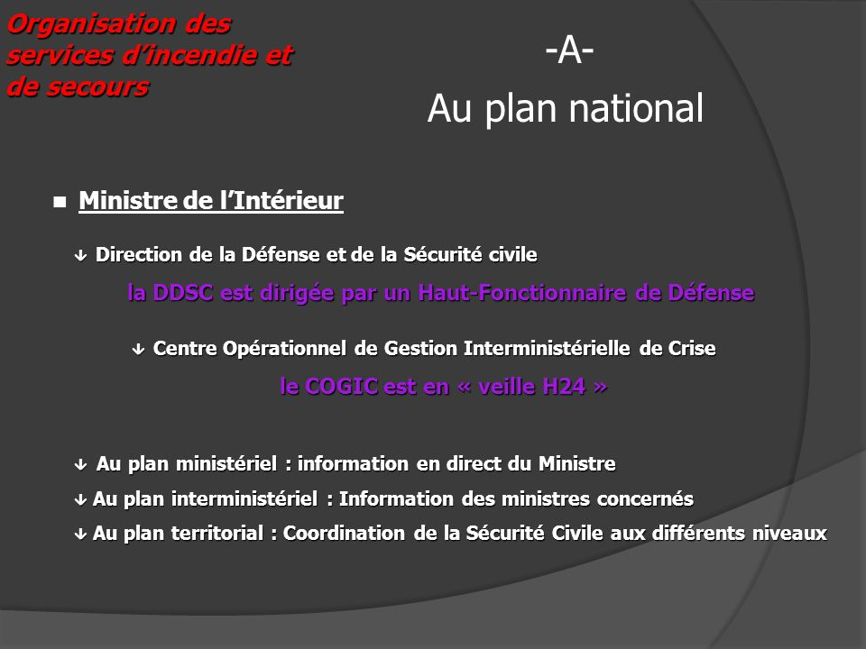 Organisation des services dincendie et de secours Au plan national -A- Direction de la Défense et de la Sécurité civile Direction de la Défense et de