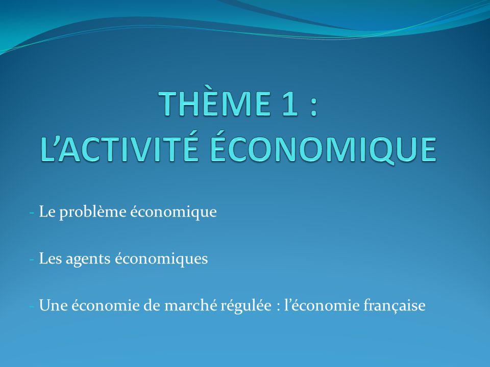 - Le problème économique - Les agents économiques - Une économie de marché régulée : léconomie française