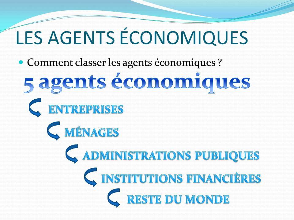 LES AGENTS ÉCONOMIQUES Comment classer les agents économiques ?