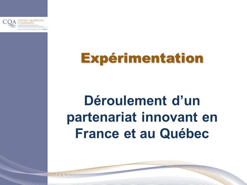 Expérimentation Déroulement dun partenariat innovant en France et au Québec