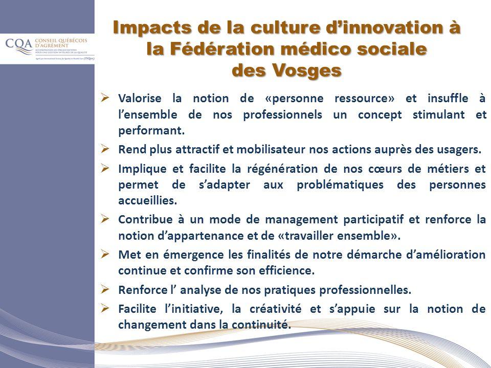 Impacts de la culture dinnovation à la Fédération médico sociale des Vosges Valorise la notion de «personne ressource» et insuffle à lensemble de nos professionnels un concept stimulant et performant.