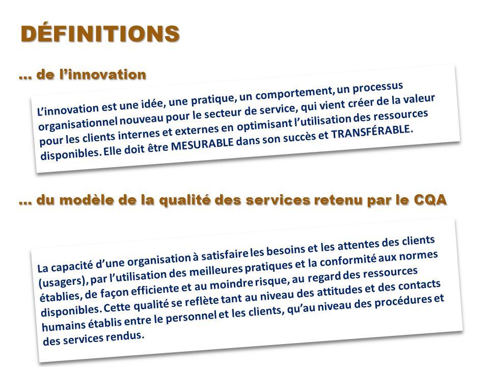 … de linnovation … du modèle de la qualité des services retenu par le CQA Linnovation est une idée, une pratique, un comportement, un processus organisationnel nouveau pour le secteur de service, qui vient créer de la valeur pour les clients internes et externes en optimisant lutilisation des ressources disponibles.
