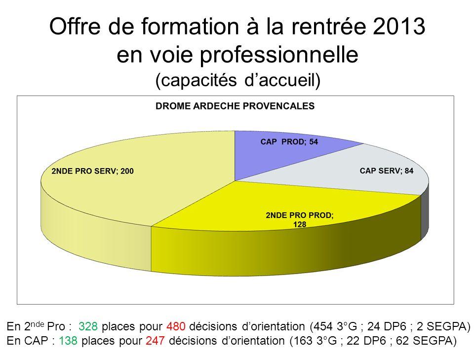 Offre de formation à la rentrée 2013 en voie professionnelle (capacités daccueil) En 2 nde Pro : 328 places pour 480 décisions dorientation (454 3°G ; 24 DP6 ; 2 SEGPA) En CAP : 138 places pour 247 décisions dorientation (163 3°G ; 22 DP6 ; 62 SEGPA)