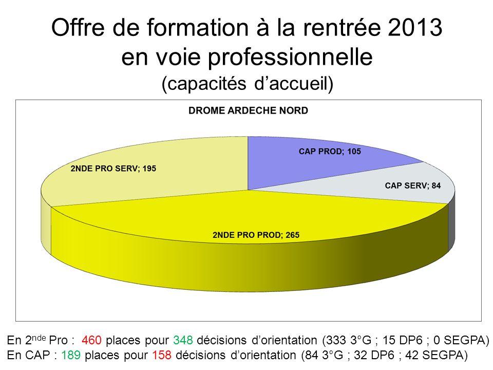 Offre de formation à la rentrée 2013 en voie professionnelle (capacités daccueil) En 2 nde Pro : 460 places pour 348 décisions dorientation (333 3°G ; 15 DP6 ; 0 SEGPA) En CAP : 189 places pour 158 décisions dorientation (84 3°G ; 32 DP6 ; 42 SEGPA)