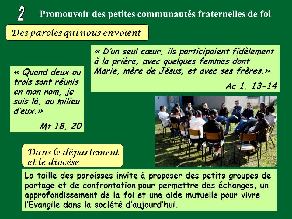 Promouvoir des petites communautés fraternelles de foi Des paroles qui nous envoient « Dun seul cœur, ils participaient fidèlement à la prière, avec q