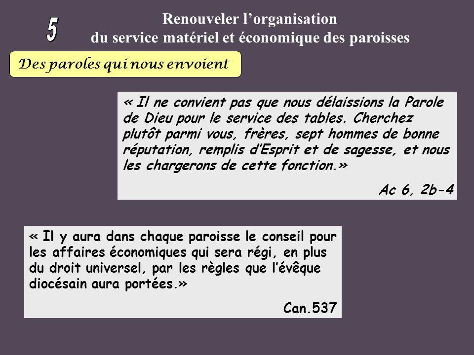 Renouveler lorganisation du service matériel et économique des paroisses Des paroles qui nous envoient « Il ne convient pas que nous délaissions la Parole de Dieu pour le service des tables.