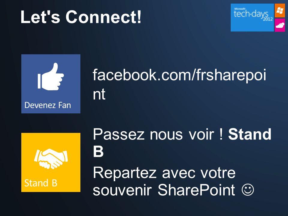 Let's Connect! facebook.com/frsharepoi nt Passez nous voir ! Stand B Repartez avec votre souvenir SharePoint