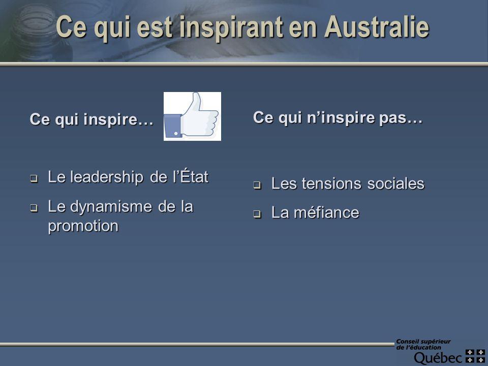 Ce qui est inspirant en Australie Ce qui inspire… Le leadership de lÉtat Le leadership de lÉtat Le dynamisme de la promotion Le dynamisme de la promotion Ce qui ninspire pas… Les tensions sociales La méfiance