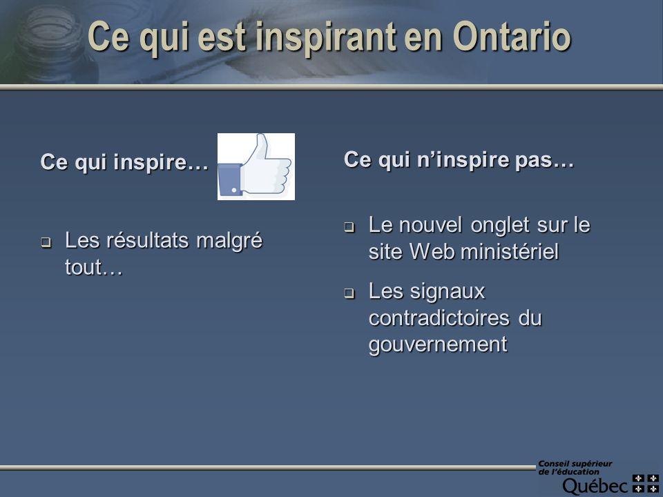 Ce qui est inspirant en Ontario Ce qui inspire… Les résultats malgré tout… Les résultats malgré tout… Ce qui ninspire pas… Le nouvel onglet sur le site Web ministériel Les signaux contradictoires du gouvernement