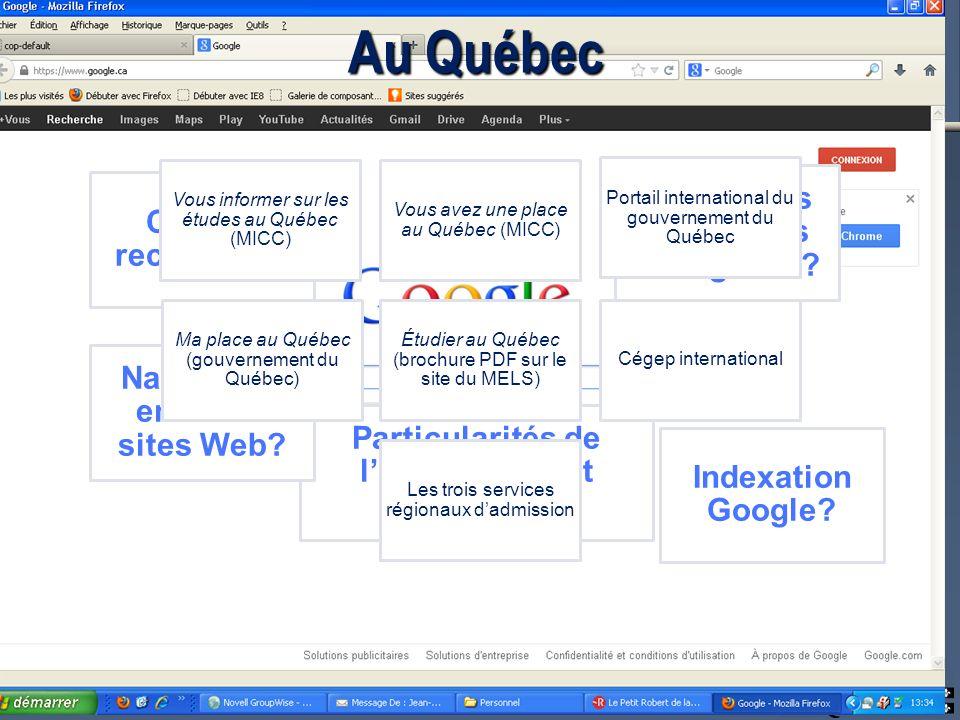 Au Québec Clés de recherche. Indexation Google. Particularités de lenseignement collégial.