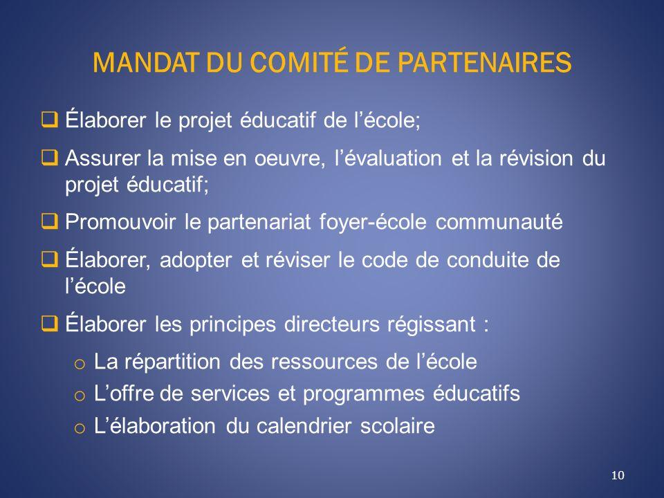MANDAT DU COMITÉ DE PARTENAIRES 10 Élaborer le projet éducatif de lécole; Assurer la mise en oeuvre, lévaluation et la révision du projet éducatif; Pr