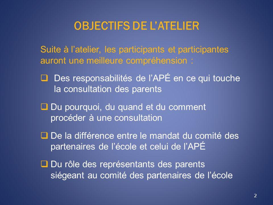 OBJECTIFS DE LATELIER 2 Suite à latelier, les participants et participantes auront une meilleure compréhension : Des responsabilités de lAPÉ en ce qui