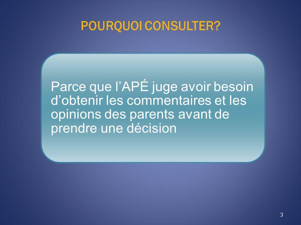 POURQUOI CONSULTER? 3 Parce que lAPÉ juge avoir besoin dobtenir les commentaires et les opinions des parents avant de prendre une décision