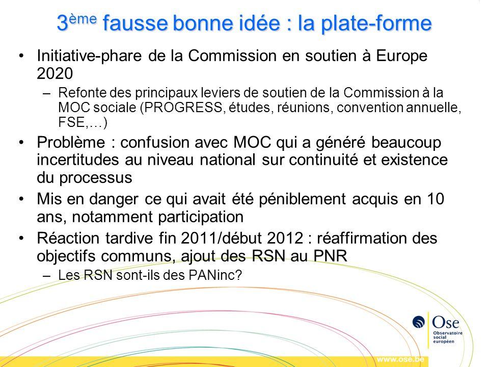 3 ème fausse bonne idée : la plate-forme Initiative-phare de la Commission en soutien à Europe 2020 –Refonte des principaux leviers de soutien de la C