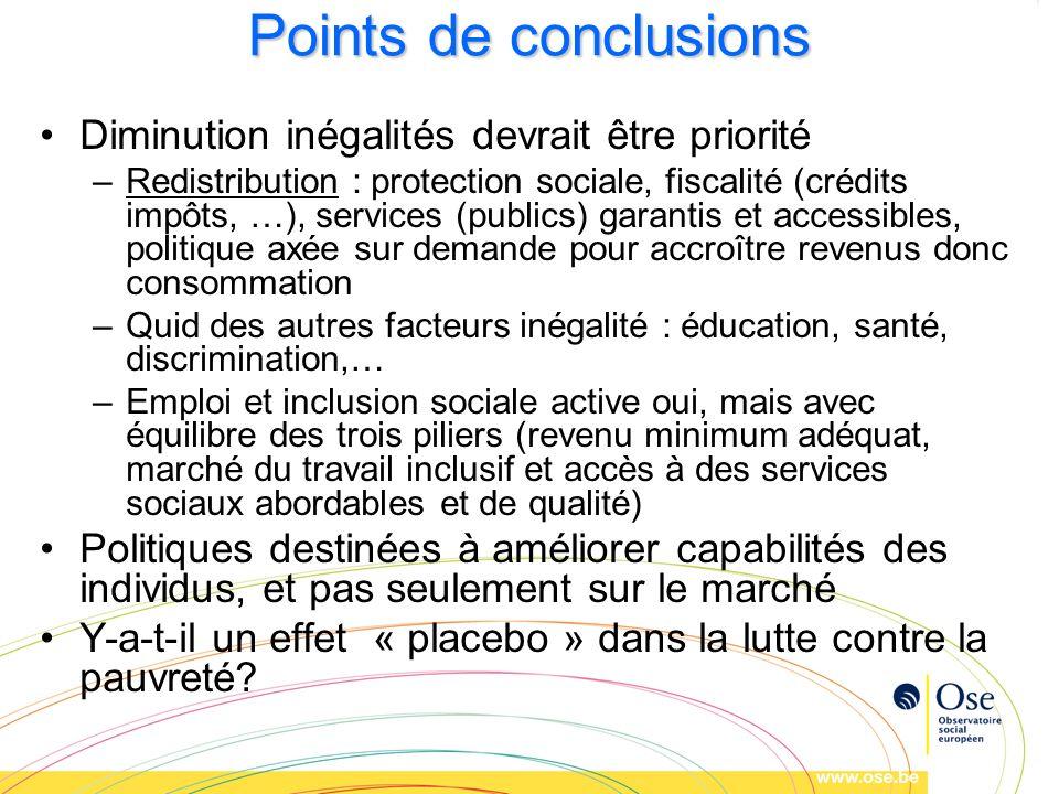 Points de conclusions Diminution inégalités devrait être priorité –Redistribution : protection sociale, fiscalité (crédits impôts, …), services (publi