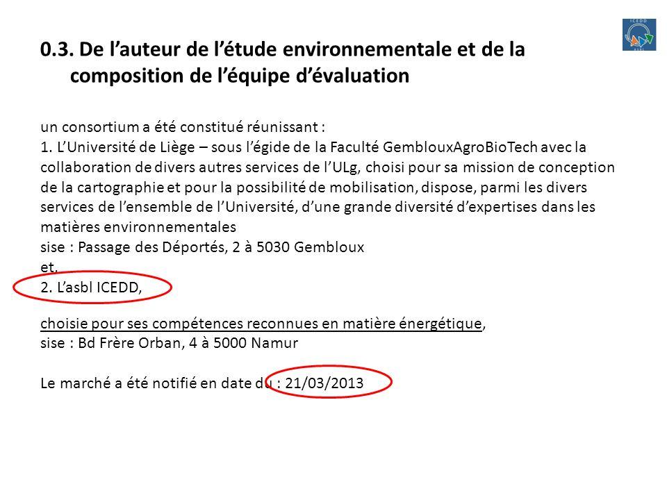 0.3. De lauteur de létude environnementale et de la composition de léquipe dévaluation un consortium a été constitué réunissant : 1. LUniversité de Li