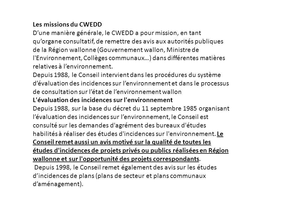 Les missions du CWEDD Dune manière générale, le CWEDD a pour mission, en tant quorgane consultatif, de remettre des avis aux autorités publiques de la Région wallonne (Gouvernement wallon, Ministre de l Environnement, Collèges communaux…) dans différentes matières relatives à lenvironnement.