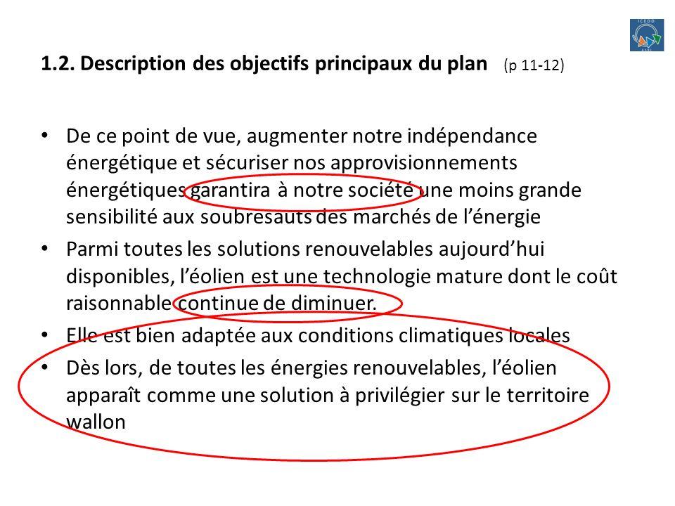 1.2. Description des objectifs principaux du plan (p 11-12) De ce point de vue, augmenter notre indépendance énergétique et sécuriser nos approvisionn
