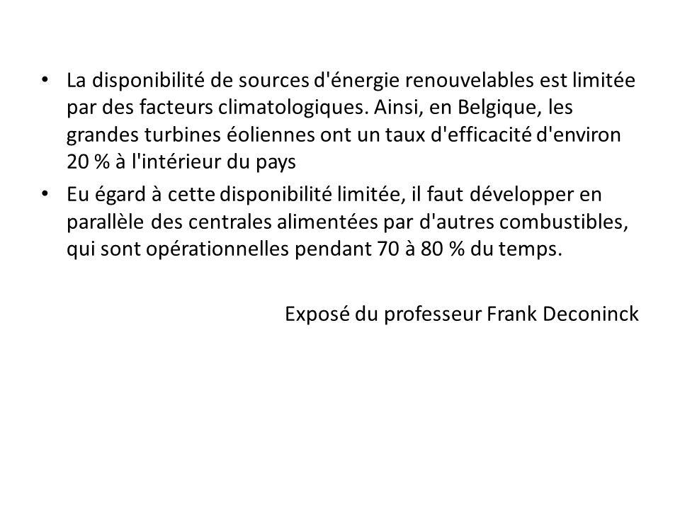 La disponibilité de sources d énergie renouvelables est limitée par des facteurs climatologiques.
