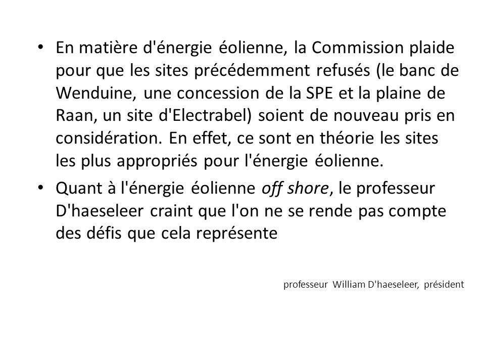 En matière d énergie éolienne, la Commission plaide pour que les sites précédemment refusés (le banc de Wenduine, une concession de la SPE et la plaine de Raan, un site d Electrabel) soient de nouveau pris en considération.