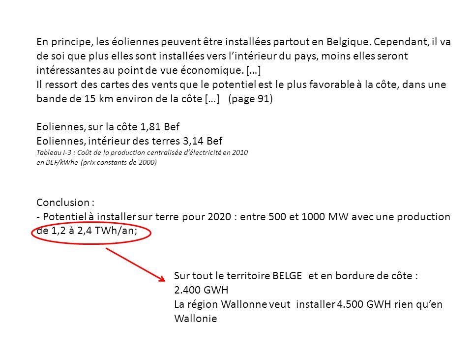 En principe, les éoliennes peuvent être installées partout en Belgique.
