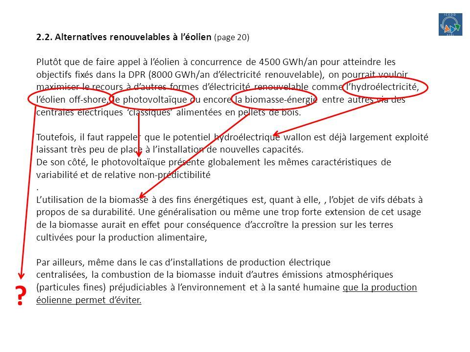 2.2. Alternatives renouvelables à léolien (page 20) Plutôt que de faire appel à léolien à concurrence de 4500 GWh/an pour atteindre les objectifs fixé