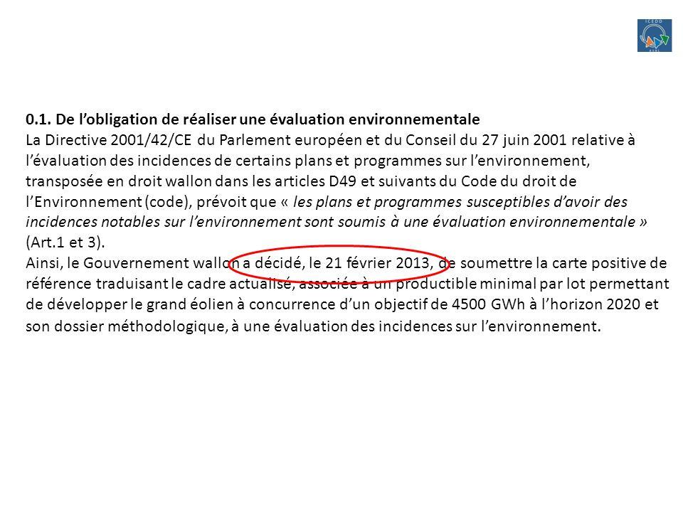 0.1. De lobligation de réaliser une évaluation environnementale La Directive 2001/42/CE du Parlement européen et du Conseil du 27 juin 2001 relative à