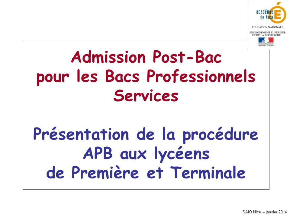 SAIO Nice – janvier 2014 Admission Post-Bac pour les Bacs Professionnels Services Présentation de la procédure APB aux lycéens de Première et Terminal