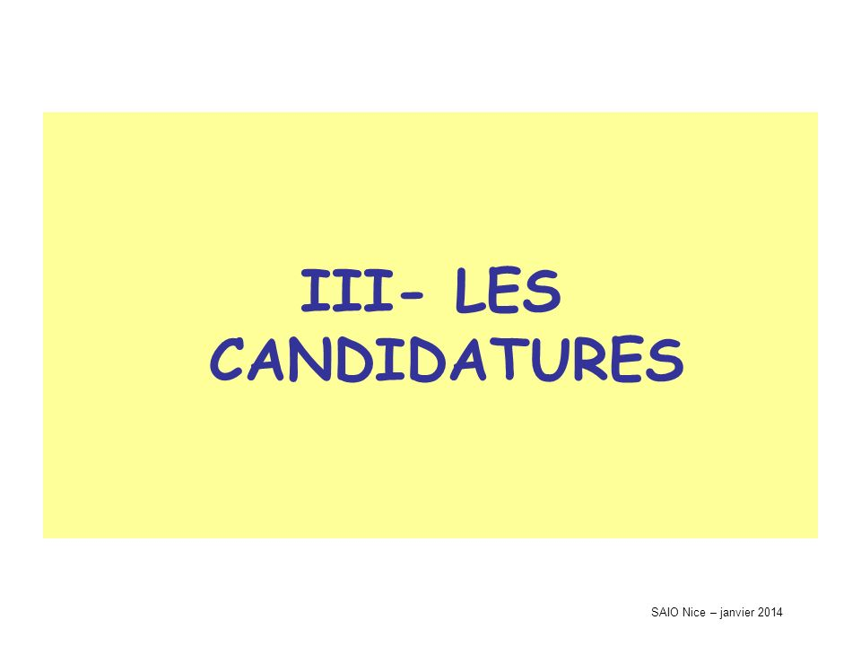 SAIO Nice – janvier 2014 III- LES CANDIDATURES