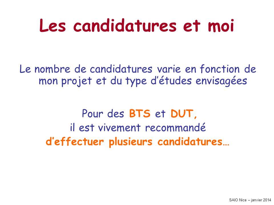 SAIO Nice – janvier 2014 Les candidatures et moi Le nombre de candidatures varie en fonction de mon projet et du type détudes envisagées Pour des BTS