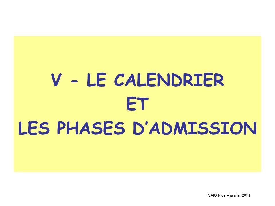 SAIO Nice – janvier 2014 V - LE CALENDRIER ET LES PHASES DADMISSION