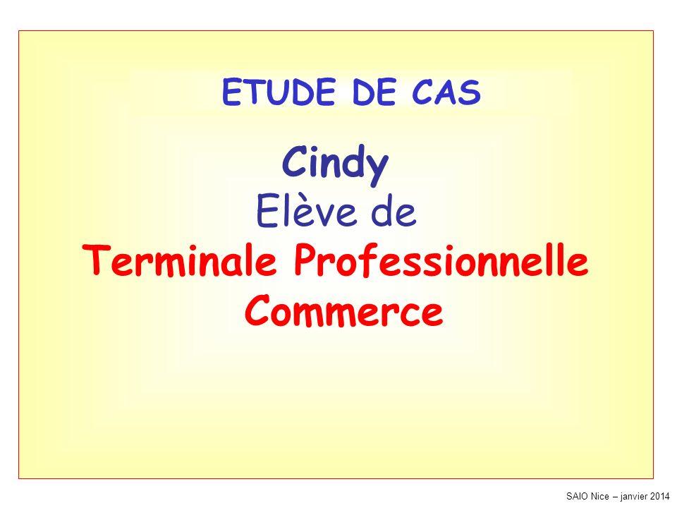 SAIO Nice – janvier 2014 Cindy Elève de Terminale Professionnelle Commerce ETUDE DE CAS