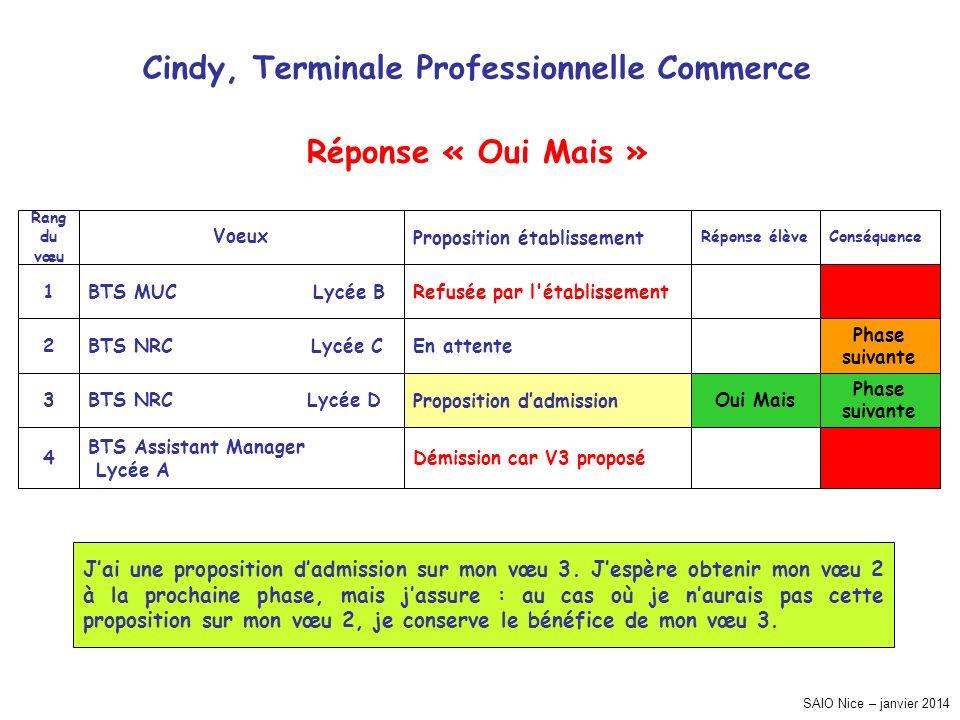 SAIO Nice – janvier 2014 Cindy, Terminale Professionnelle Commerce Phase suivante Phase suivante Conséquence Démission car V3 proposé BTS Assistant Ma