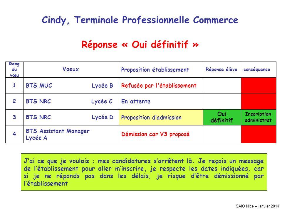 SAIO Nice – janvier 2014 Cindy, Terminale Professionnelle Commerce Inscription administrat conséquence Démission car V3 proposé BTS Assistant Manager
