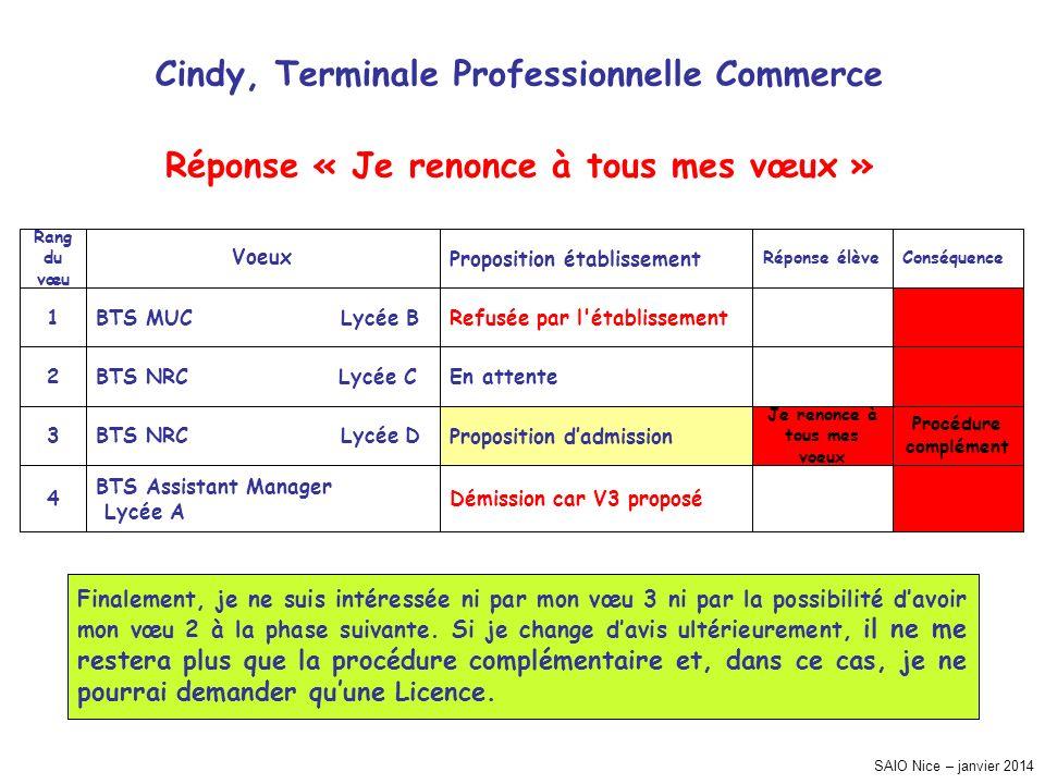 SAIO Nice – janvier 2014 Cindy, Terminale Professionnelle Commerce Procédure complément Conséquence Démission car V3 proposé BTS Assistant Manager Lyc