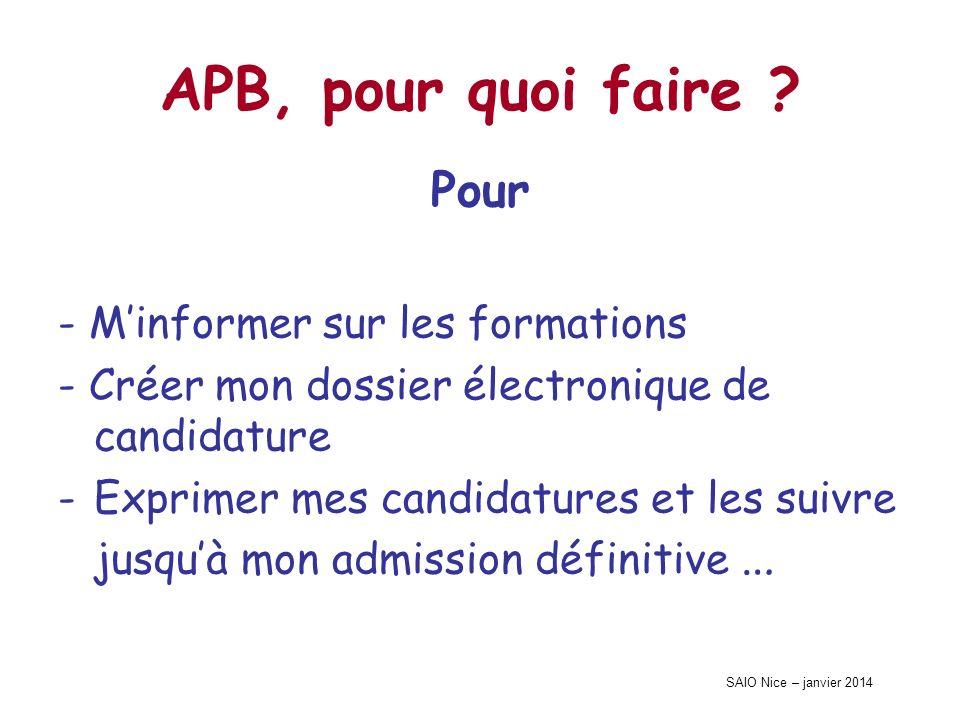 SAIO Nice – janvier 2014 APB, pour quoi faire ? Pour - Minformer sur les formations - Créer mon dossier électronique de candidature -Exprimer mes cand