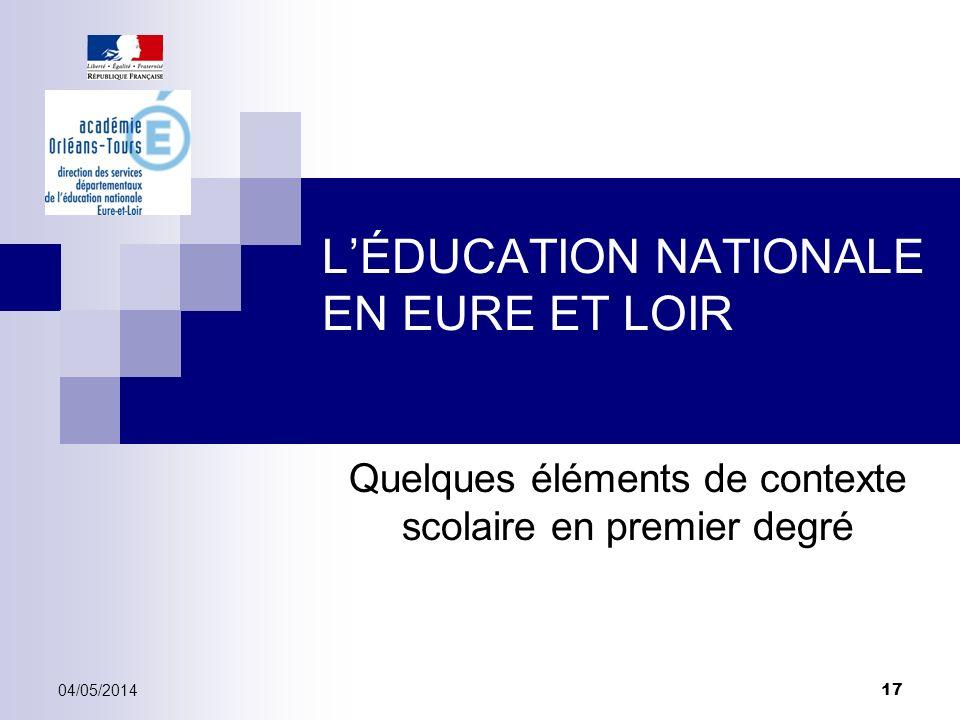 LÉDUCATION NATIONALE EN EURE ET LOIR Quelques éléments de contexte scolaire en premier degré 04/05/2014 17