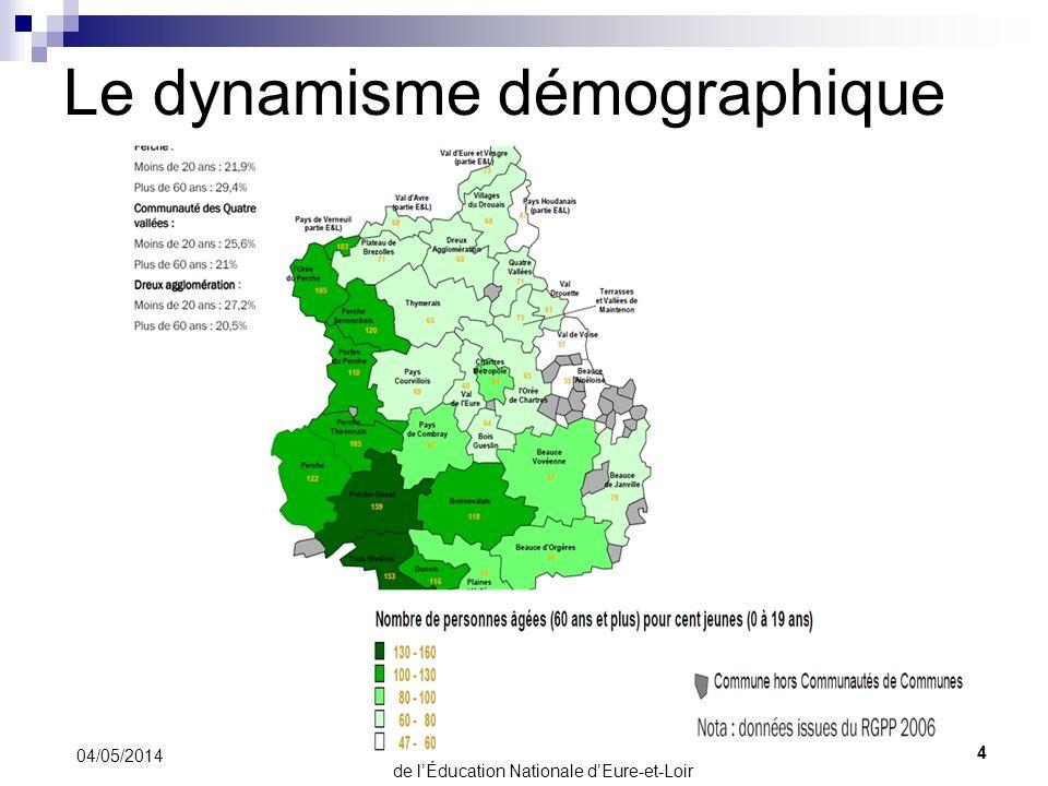 Le dynamisme démographique 04/05/2014 4 Direction des Services Départementaux de lÉducation Nationale dEure-et-Loir