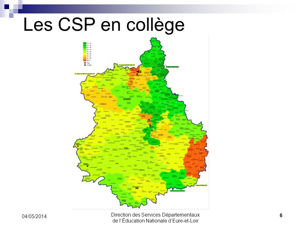 Les CSP en collège 04/05/2014 6 Direction des Services Départementaux de lÉducation Nationale dEure-et-Loir