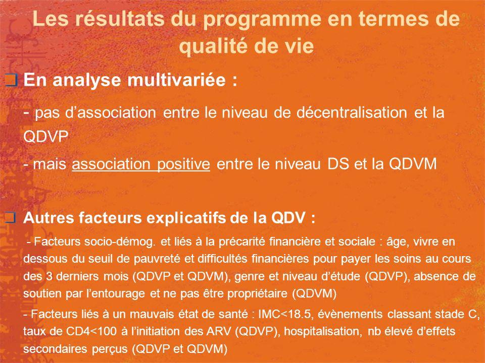 Les résultats du programme en termes de qualité de vie En analyse multivariée : - pas dassociation entre le niveau de décentralisation et la QDVP - ma