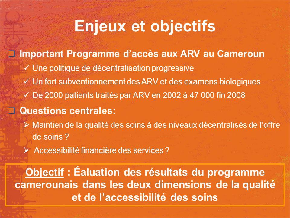 Enjeux et objectifs Important Programme daccès aux ARV au Cameroun Une politique de décentralisation progressive Un fort subventionnement des ARV et d