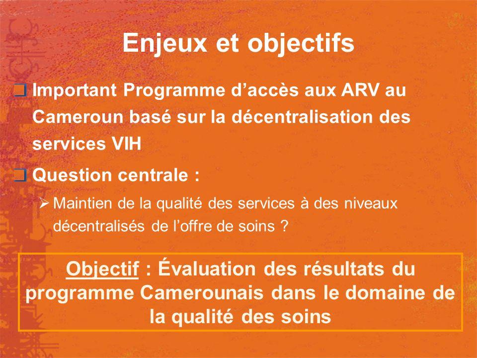 Enjeux et objectifs Important Programme daccès aux ARV au Cameroun basé sur la décentralisation des services VIH Question centrale : Maintien de la qu